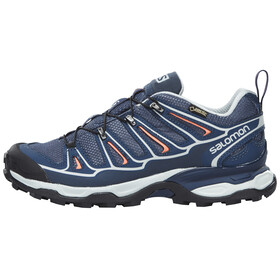 Salomon X Ultra 2 GTX Hiking Shoes Women grey denim/deep blue/melon bloom